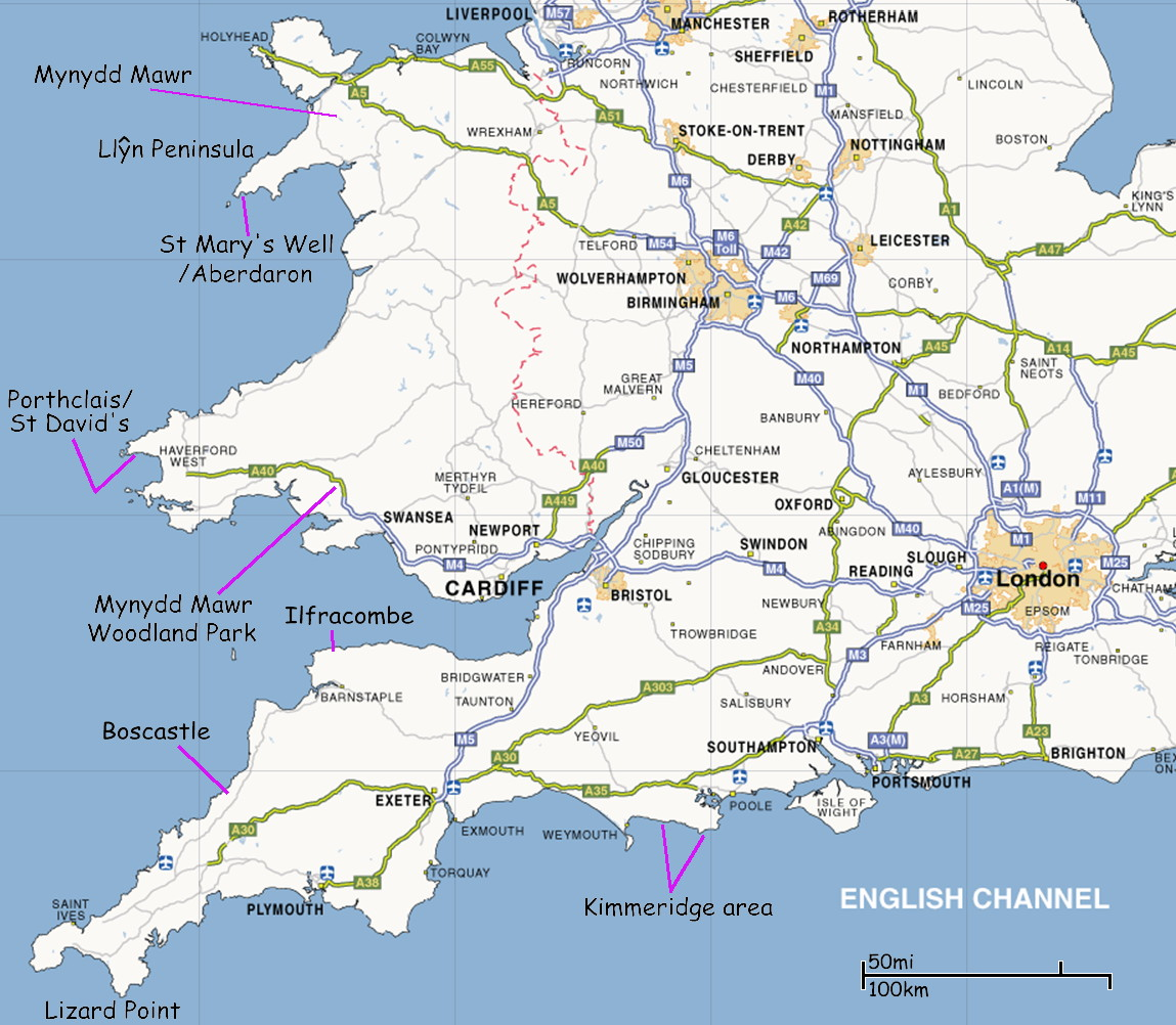 map showing location of natural black cliffs in england and wales