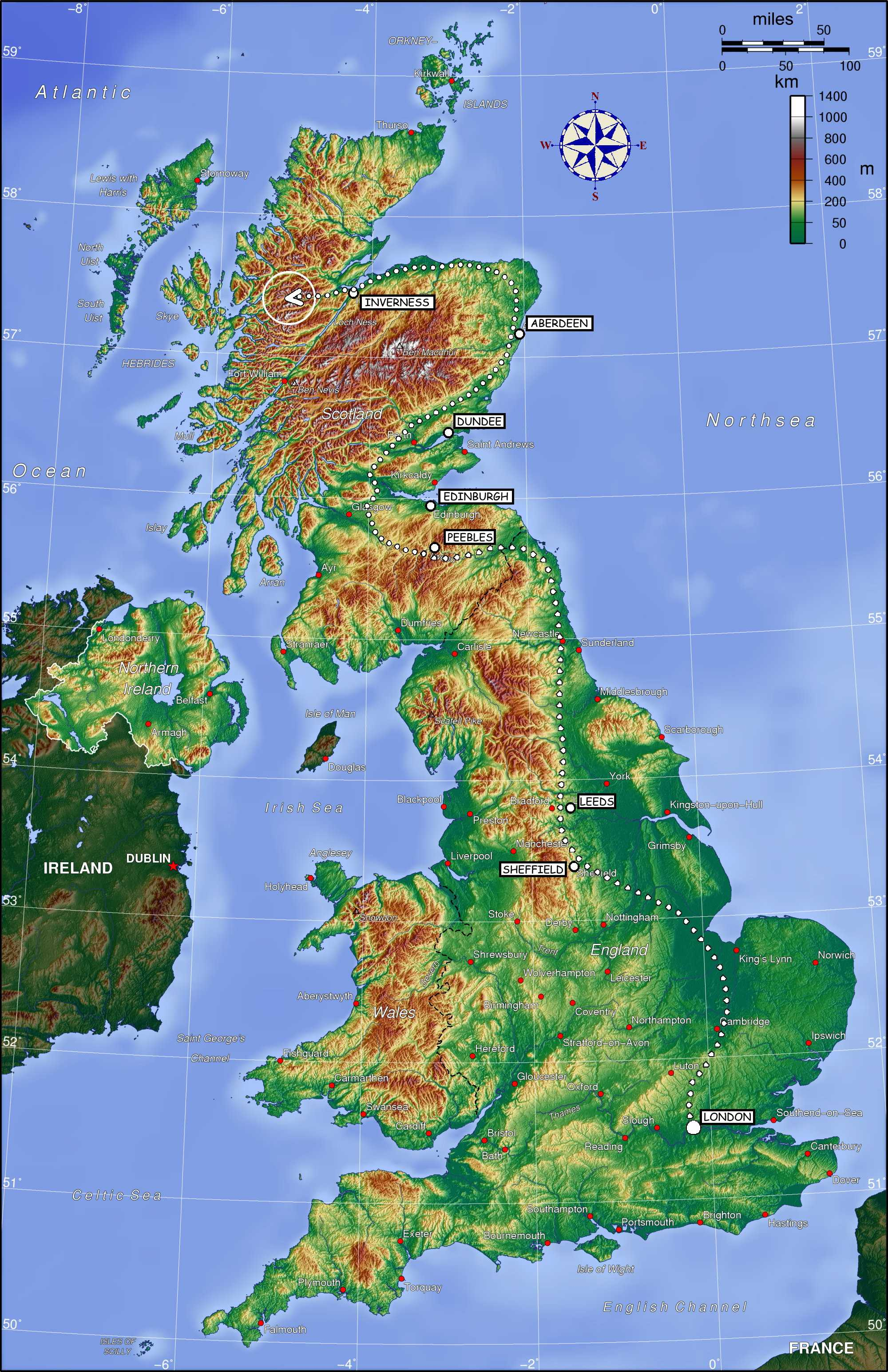Map Showing Possible Route Of The Hogwarts Express Through England And  Scotland