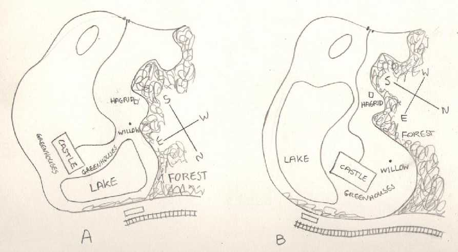 The map of hogwarts the castle grounds two possible layouts for the hogwarts grounds malvernweather Image collections